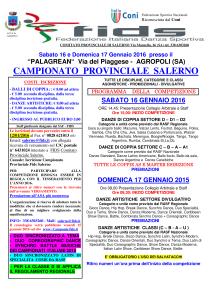 Programma campionato provinciale a Salerno