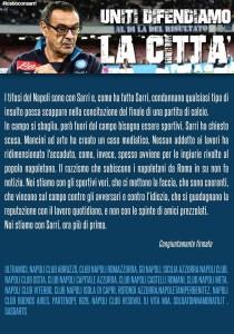 Comunicato dei tifosi del Napoli per difendere Sarri e la città